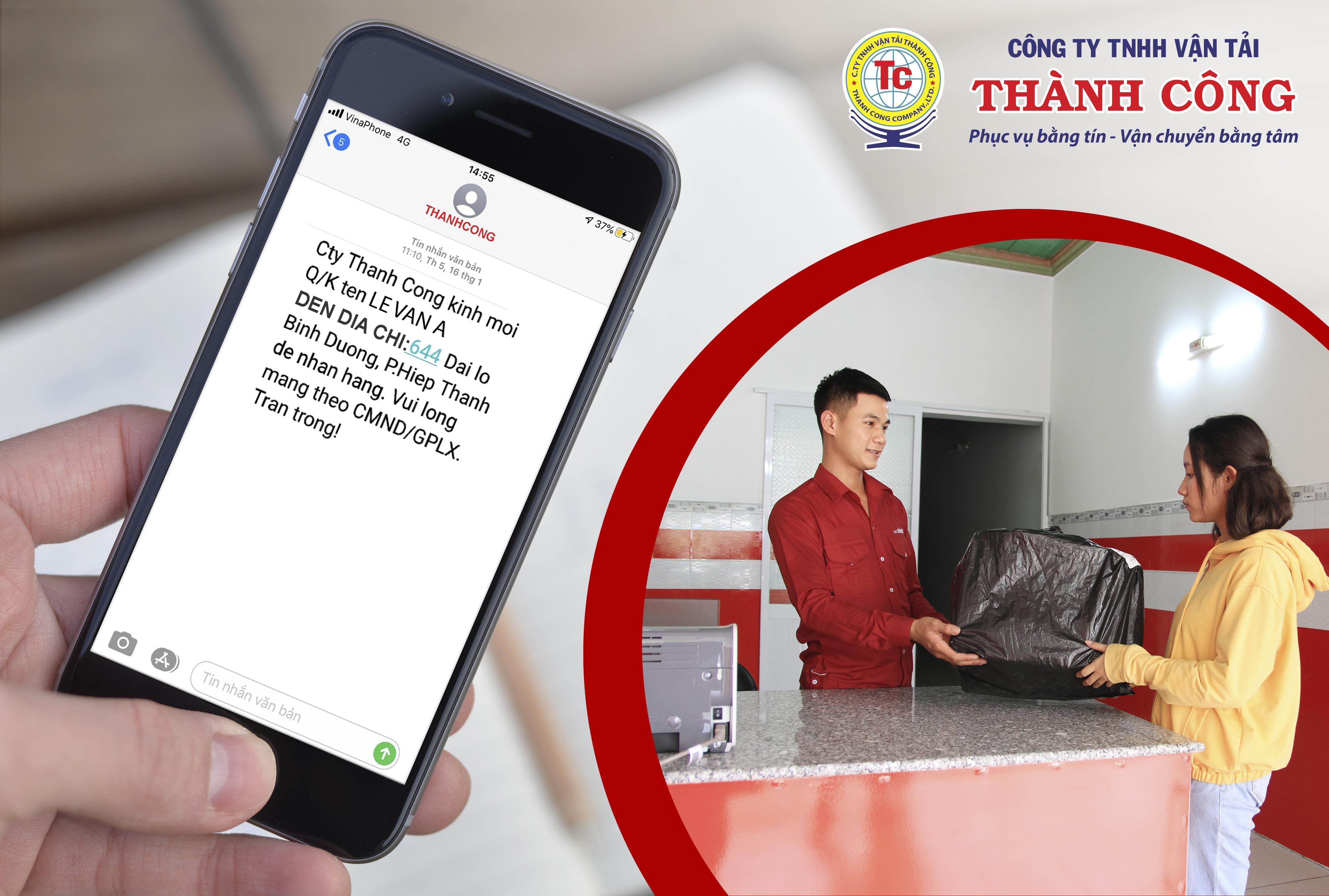 Công ty Vận tải Thành Công bắt đầu triển khai hình thức nhắn tin thông báo thay cho hình thức gọi điện.